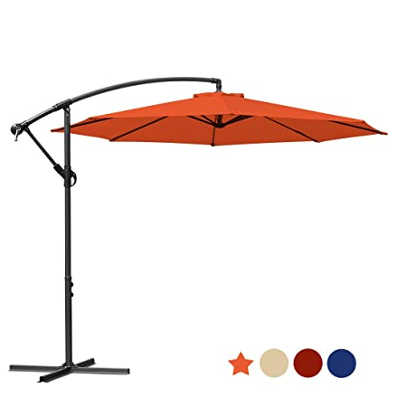 MASVIS Offset Umbrella 10 Ft Cantilever Patio Umbrella Outdoor Market Umbrellas Crank with Cross Base, 8 Ribs 10FT, Orange