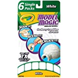 Crayola Model Magic Single Packs, White, 1 Ounce Single Packs (6 Count Box) No-Mess, Soft, Squishy, Lightweight Modeling Material For Kids 4 & Up, Easy to Paint and Decorate, Air Dries Smooth
