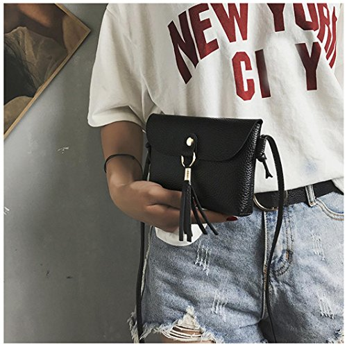 Shoulder Bag Fashion Shoulder Leather Vintage Shoulder Purse Bags Tassel Bags Crossbody Small Brown Handbag Bag Clearance Seaintheson Messenger Black1 Mini qwCPCxB6