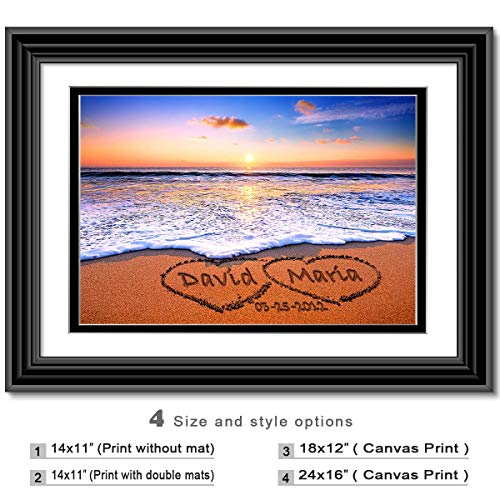 (Love on Beach - Personalized artwork with Couple's Names and date on, wedding Anniversary gift, Valentine's Day gift.)