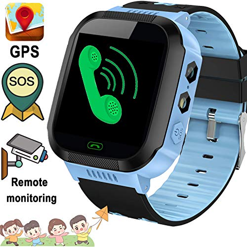 Kid Smartwatch Phone for 3-12 Years Old Boys Girls with GPS Tracker Two-Way Call SOS Anti-Lost Alarm SIM Card Slot Touch Screen Games Camera Kid Wrist Watch Sport Outdoor School Travel Birthday Gift (Best Phone For 11 Year Old Boy)