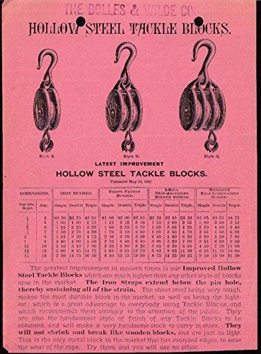 (Hollow Steel Tackle Blocks price list 1890s)
