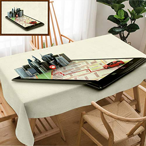 - Unique Custom Design Cotton And Linen Blend Tablecloth Mobile Gps Navigation Travel And Tourism Concept View A Map On The Mobile Phone On Car And SearchTablecovers For Rectangle Tables, 60