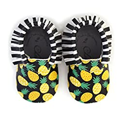 Pineapple of My Eye • 100% American leather moccasins for babies & toddlers • Made in US