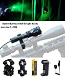 Ulako Green Light Tactical Flashlight 250 Yards Range with Scope Sight Mount for Coyote Hog Pig Varmint Predator Hunting