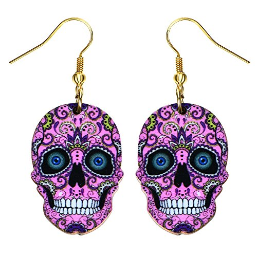 Liavy's Day of the Dead Sugar Skull Fashionable Earrings - Acrylic - Fish Hook - Pink -