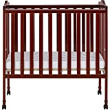 Cherry Solid Pine Locking Wheels Folding Crib