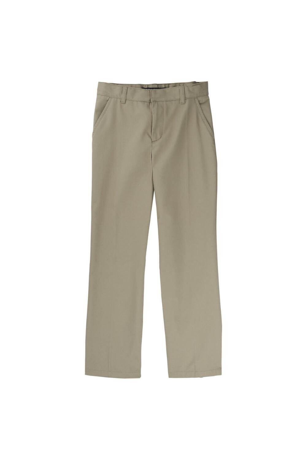 French Toast Big Boys' Flat Front Double Knee Pant with Adjacent Waist and Hem, Khaki, 12