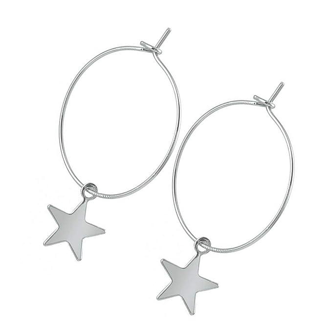 Bodbii Pendientes plateado perforada de la estrella del aro de aleaci/ón geom/étrico gota colgante que cuelga gota para el o/ído joyer/ía y accesorios