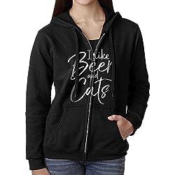 Womens Hoodie Sweatshirt I Like Beer And Cats Long Sleeve Zip-up Hooded Sweatshirt Jacket S