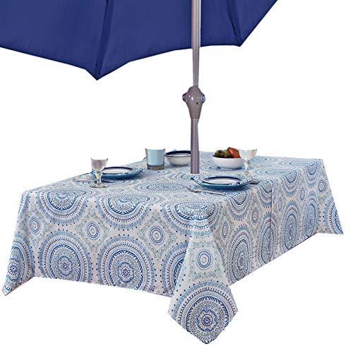 (Newbridge Blue Circle Stitch Contemporary Print Indoor/Outdoor Soil Resistant Fabric Tablecloth - 60 X 84 Oblong Zippered Umbrella Hole Patio Tablecloth, Blue)