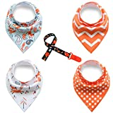 MBJERRY Baby 4-Pack Super Absorbent Bandana Bib Set with 1 -Pack Pacifier Clips Holder (Fox & Stripe)