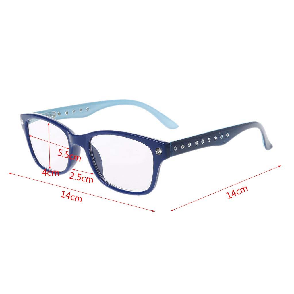 Hoxin Unisex-Lesebrille Leichte presbyopische Brille Eyewear 1.00-4.00 Diopter Diamant-Strass-Stil Blau, 1.00