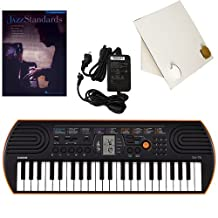 Casio SA-76 44 Key Mini Keyboard Deluxe Bundle Includes Bonus Casio AC Adapter, Desktop Music Stand & Jazz Standards Beginning Piano Solo Songbook