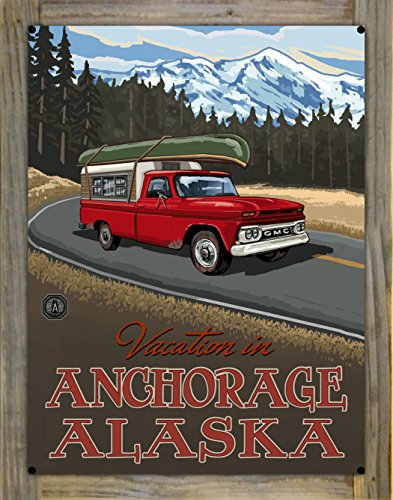 Vacation In Anchorage Alaska Pickup Road Trip Snow Metal Print on Reclaimed Barn Wood by Paul A. Lanquist (18