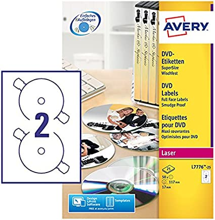Avery España L7776-25 - Pack de 25 folios con etiquetas para DVD ...