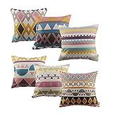 HOSL P76 6-Pack Cotton Linen 17.3' Square Throw Pillow Case Shell...