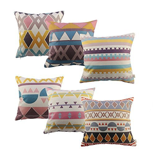 "HOSL P76 6-Pack Cotton Linen 17.3"" Square Throw Pillow Case"