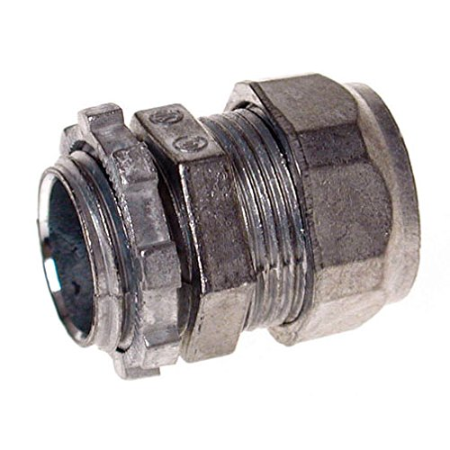 Hubbell-Raco 2802B5 Connector, Compression, EMT, Zinc, Uninsulated, 1/2-Inch, 5-Pack