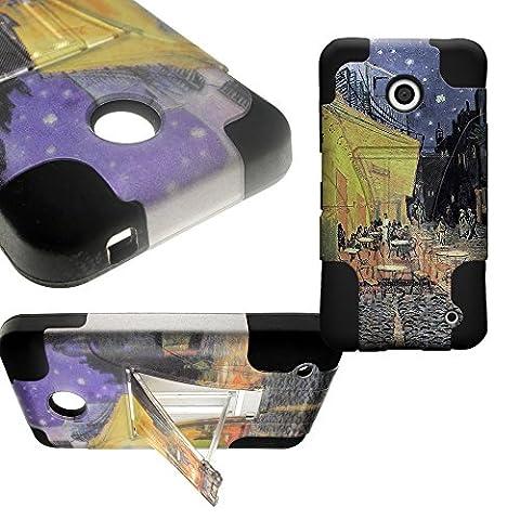 CoverON Kickstand Hard + Soft Dual Layer Hybrid Case for Nokia Lumia 635 - Terrace Cafe Design Hard Plastic + Black Soft (Nokia Lumia 635 Cases For Guys)
