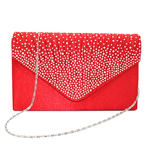 Handbag Evening Women's PROKTH Grande Bag Satin Rosso Party Wedding Envelope Bag Rhinestone Clutch Wedding studded vq55xgwp