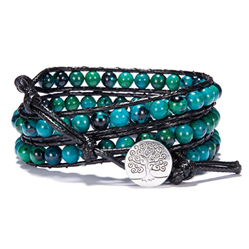 (Bonnie 3 Leather Wraps Bracelet 4mm Gemstone Beaded Handmade Tree of Life Bangle (6mm Chrysocolla))