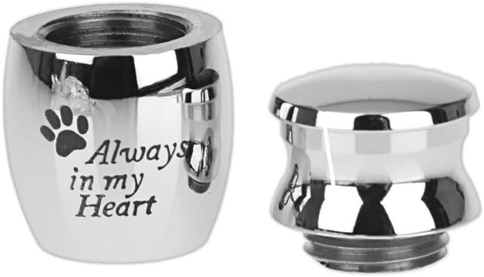 LOVIVER Pet Urn Mini Jar-Always In My Heart Paw Print Waterproof Stainless Steel