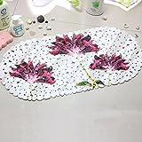bd jfew Non-slip mat Bath Bathroom pebble soft carpet of non-slip bath with suction cups Absorbent Pillow hollow factory grounds flowers European style-a 35x69cm(14x27cm)