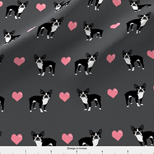 Spoonflower Boston Terrier Fabric Grey Boston Terrier Love Hearts Fabric Cute Dog Fabric by Petfriendly Printed on Fleece Fabric by the Yard - Boston Terrier Fabric
