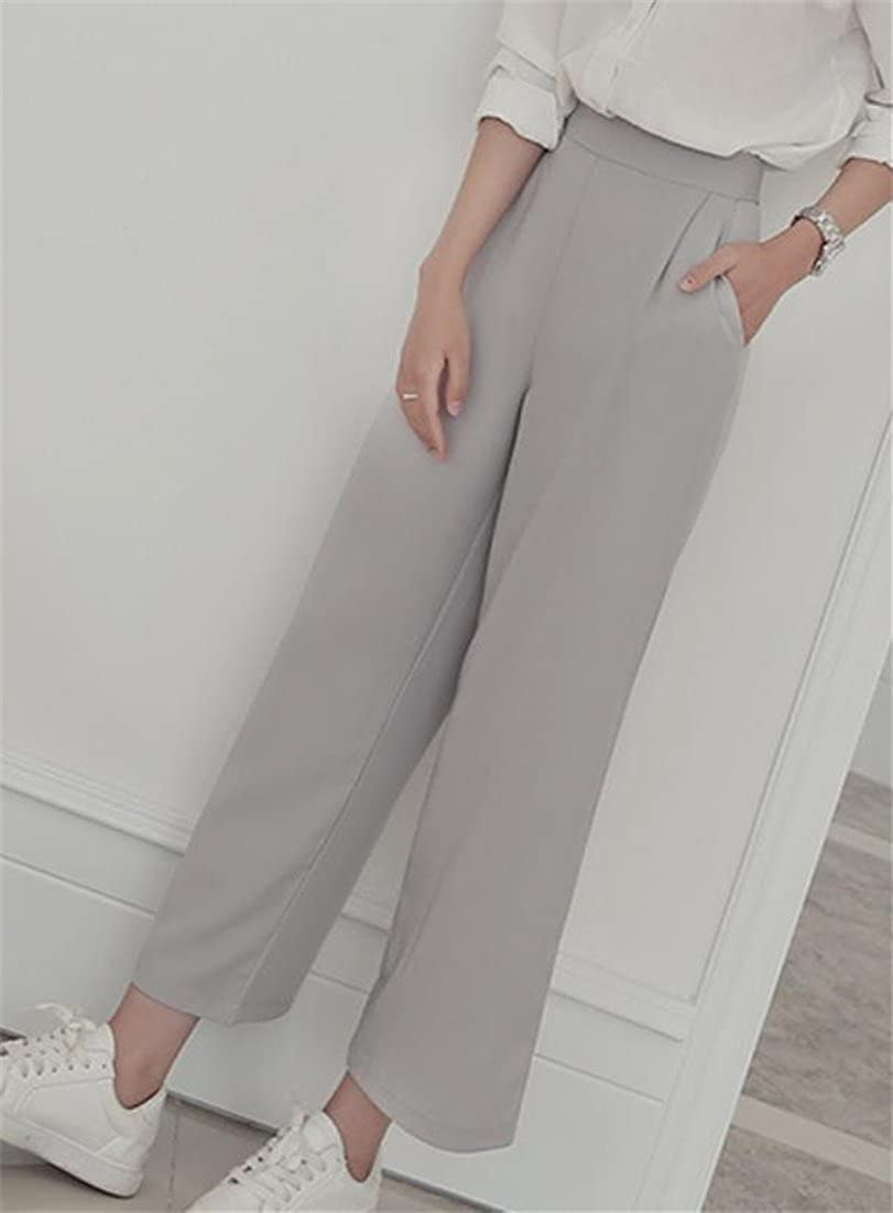 e600b7c70d68 Etecredpow Womens Open Bottom Simple Summer Trousers Wide Leg High Waisted  Cropped Pants at Amazon Women s Clothing store