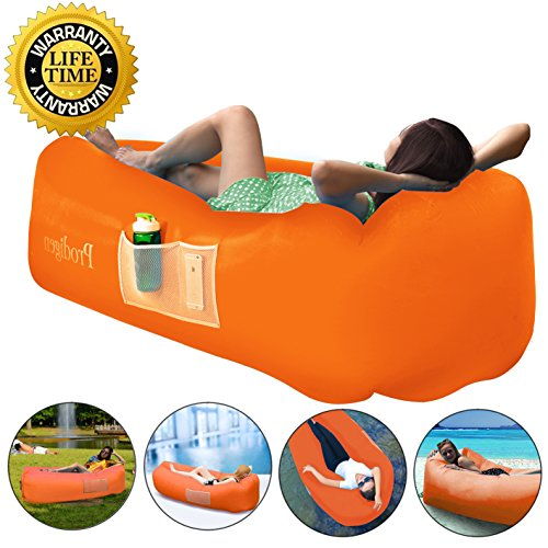 Prodigen Inflatable Lounger Chair, Air Sofa Inflatable Couch Outdoor Anti-Air Leaking Waterproof Portable Inflatable Hammock Air Couch for Pool, Floor, Camping, Beach (Orange)