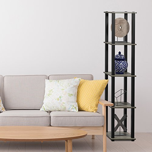 Furinno 18026GYW/BK Turn-S 5-Tier Compact Multipurpose Shelf, Square Tube, French Oak Grey/Black by Furinno (Image #2)