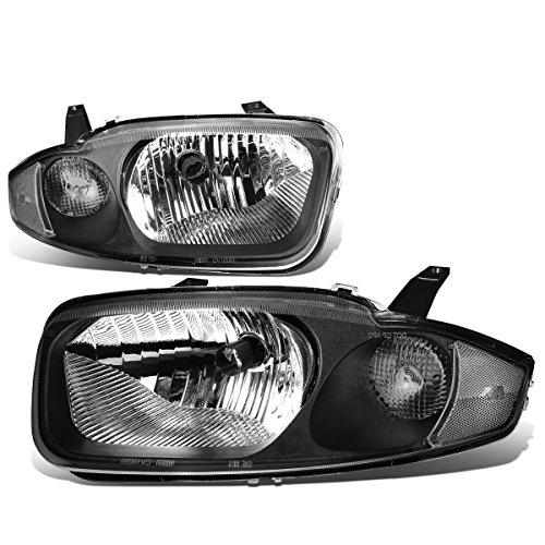 For Chevy Cavalier 3rd Gen Sedan Pair of Black Housing Clear Corner Headlight Lamp ()