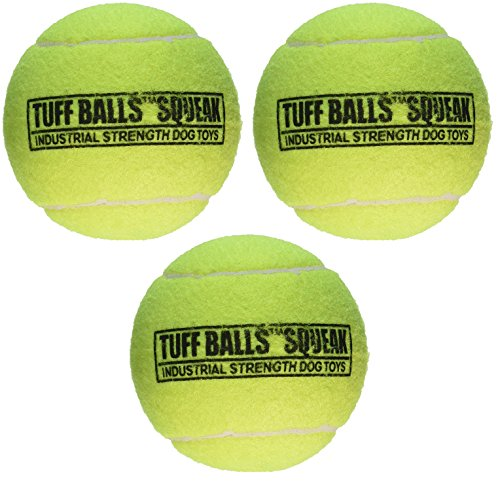 (3 Pack) PetSport Giant Tuff Squeaker Tennis Ball for Dogs - 4 Inch