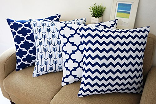 Blue and White Howarmer® Square Cotton Canvas Decorative Throw Pillows  Cover Set of 4 Accent Pattern - Navy Blue Quatrefoil, Navy Blue Arrow,  Chevron Cover ... - Large Throw Pillows: Amazon.com