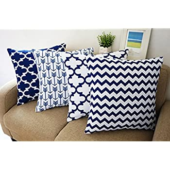 blue and white howarmer square cotton canvas decorative throw pillows cover set of 4 accent pattern navy blue quatrefoil navy blue arrow chevron cover - Decorative Accent Pillows