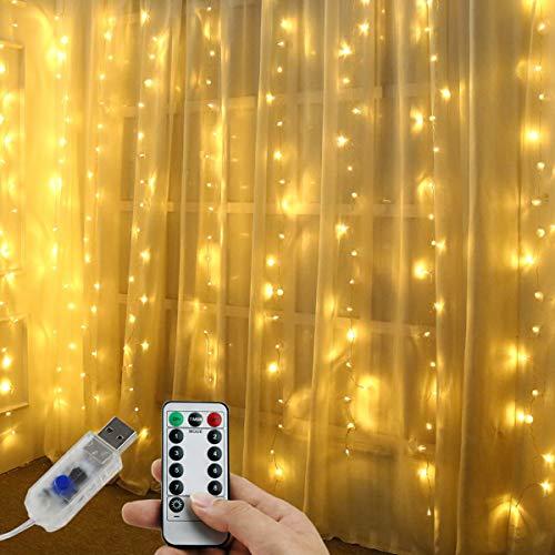 Juhefa String Lights,Curtain Lights String USB Powered, 9.8ft x 9.8ft 300LED Fairy Lights, 8 Modes & Waterproof Christmas Lights Wall Décor Holiday Halloween Wedding