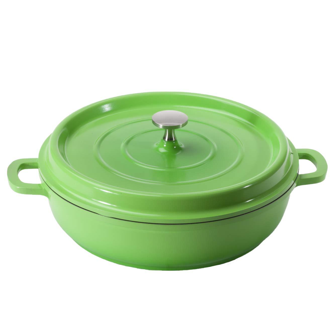Heiss CA-005-G/BK Cast Aluminum Braiser Pan/Casserole Dish, 3 Quart, Green