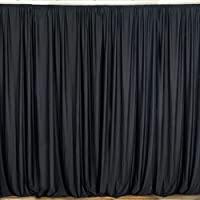 lovemyfabric 100% Polyester Window Curtain/Stage Backdrop Curtain/Photography Backdrop 58 Inch X 108 Inch (2, Black)