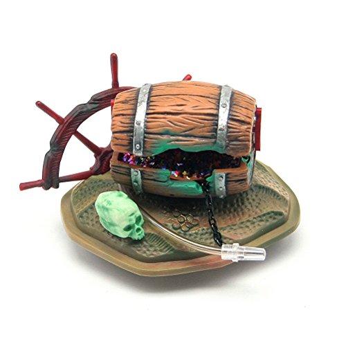Dimart Resin Pneumatic Windmill & Barrel Ornaments Filter Supplies for Fish Tank Aquarium (Wood Color)