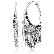 Lucky Brand Feather Chandelier Hoop Earrings