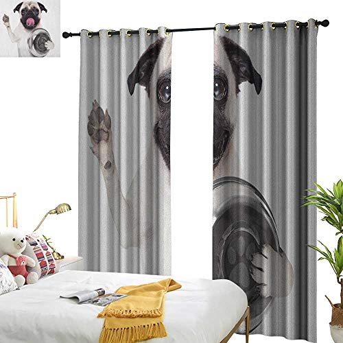 (WinfreyDecor Decor Curtains Pug Cute Pug Holding Food Bowl and Licking Its Lips Hunger Image Raising Its Hand Privacy Protection W84 x L96 Cream Silver Black)