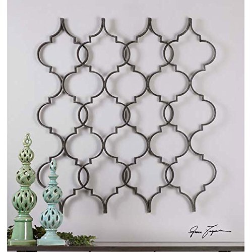 Aged Black Metal Wall Art Decor Moroccan Design ""