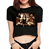Womens Nick Menza Megadeth Drummer Yearn Heavy Metal 2016 Fashion Short Sleeve Crop Top T Shirts