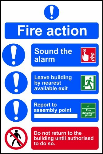 Fire action procedure Sign 1mm rigid plastic 200 x 300mm by UK Safety Signs