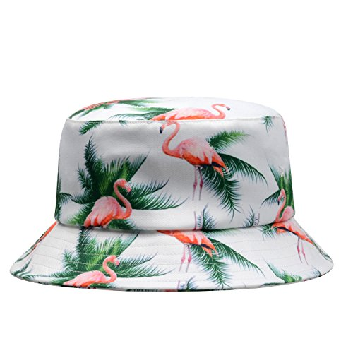 GP Accessories Trends Fashion Bucket Hat Large Famingo Palm Tree White