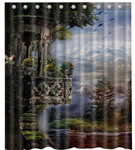 "Bird Tree and CloudShower Curtain-Waterproof-Machine Washable-69""x 84"""