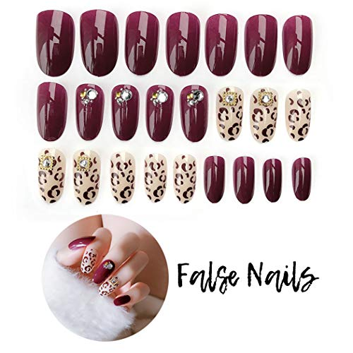 Fstrend Fake Nails Leopard Print Bling Rhinestone Full Cover Acrylic False Nails Punk Fashion Party Clip on Nails for Women and Girls ()