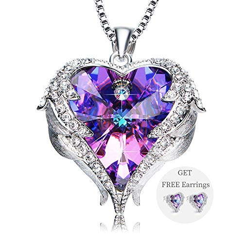 NEWNOVE Heart of Ocean Jewelry Set for Women Love Heart Pendant Necklace Stud Earrings for Girls Crystals from Swarovski