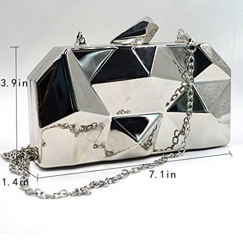 in Mini argento motivo tracolla Diamond a Bag pelle Borsa Borsa tracolla con a qxUpw8pgT